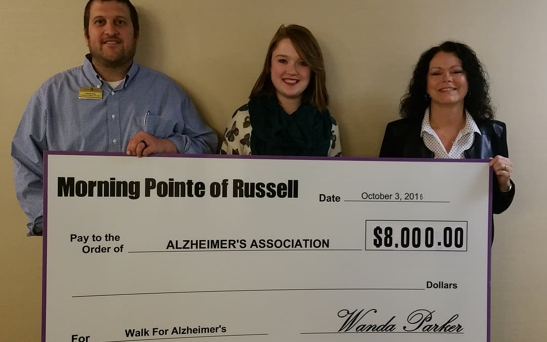 Morning Pointe Honored with 'Highest Fundraising' Award by Alzheimer's Association