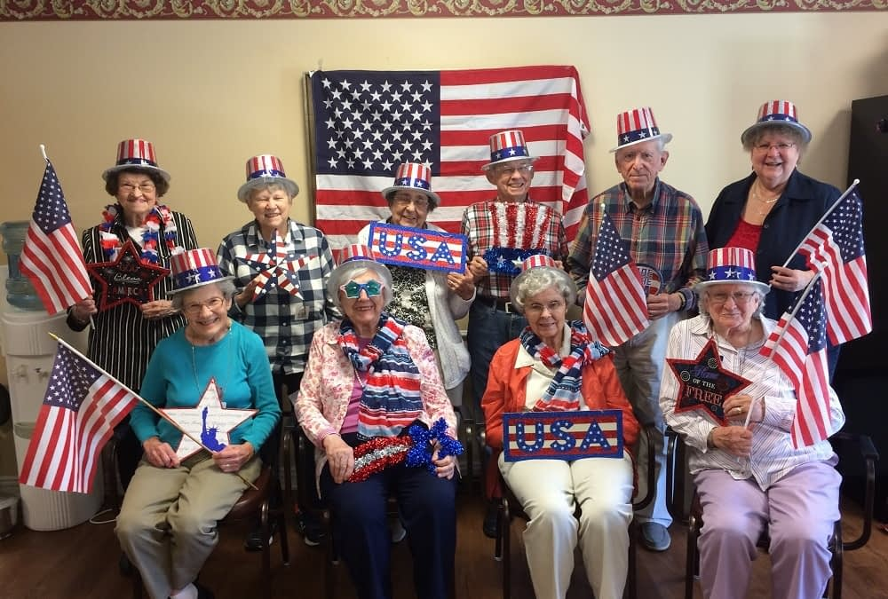 Morning Pointe Senior Living residents, family and associates show their red, white and blue spirit. Happy 4th of July from Morning Pointe -- serving seniors and their families across the Southeast.