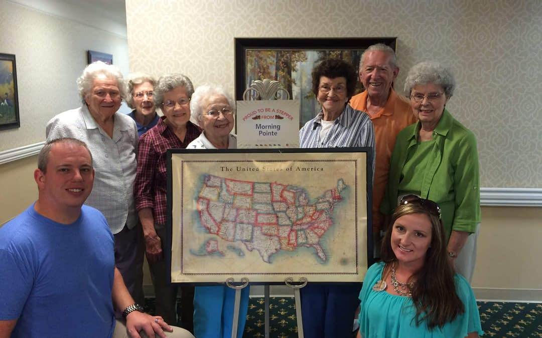"Justin Groce and April Burt with Gentiva Health Care, (back, left to right) Edrie Hart, Sara Spann, Dimple Clifton, Virginia Oxford, Agnes Ellis, Glen Hawk and Mahala Campbell, Morning Pointe of Tullahoma residents, started the ""Step On It"" program at the assisted living community."