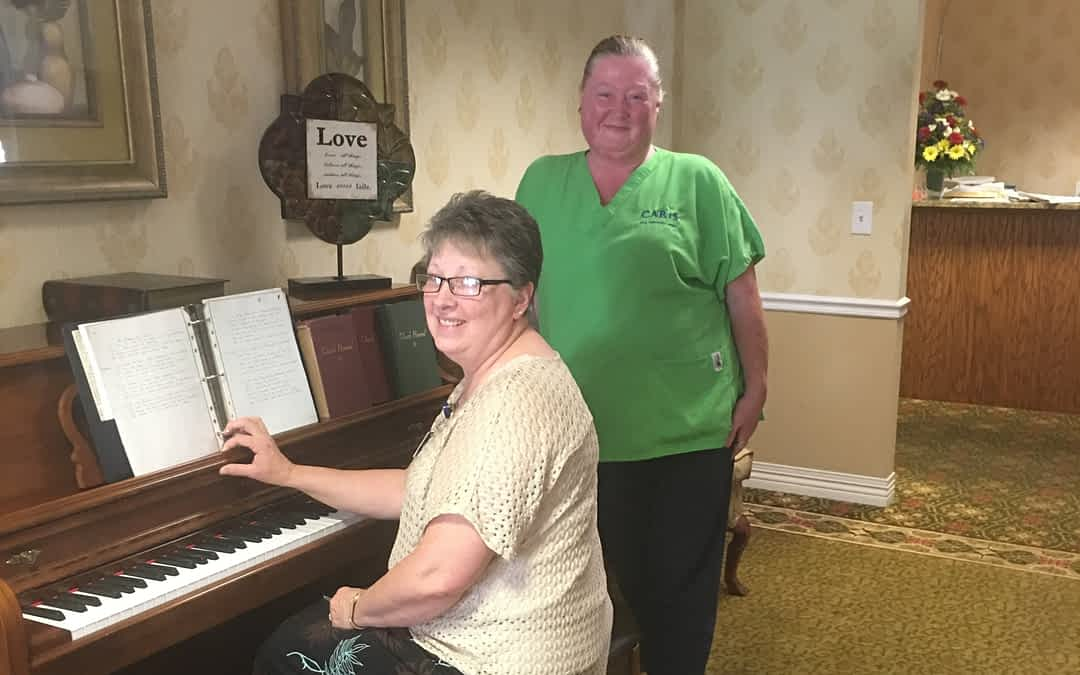 Janet Corn, volunteer coordinator at Caris Hospice and pianist, and Angie Brock, CNA, visited Morning Pointe of Athens to sing and play traditional gospel music for the assisted living residents.