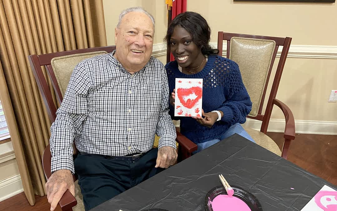 Morning Pointe Residents, UT Interns Make Valentines Together