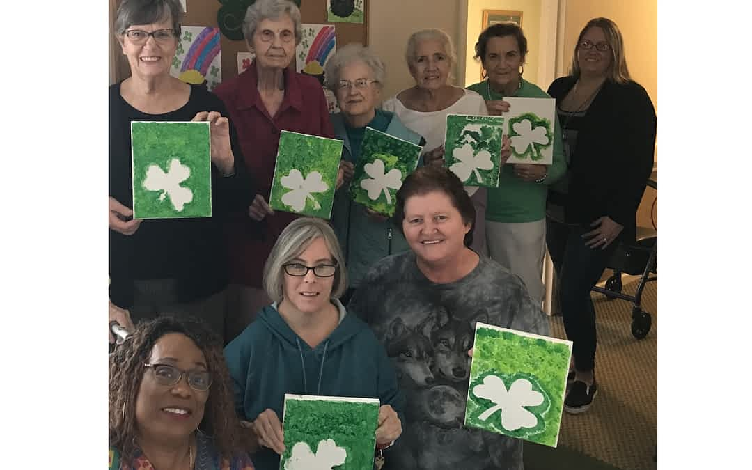 Homespun Hospice Volunteer Leads Painting Class at Morning Pointe