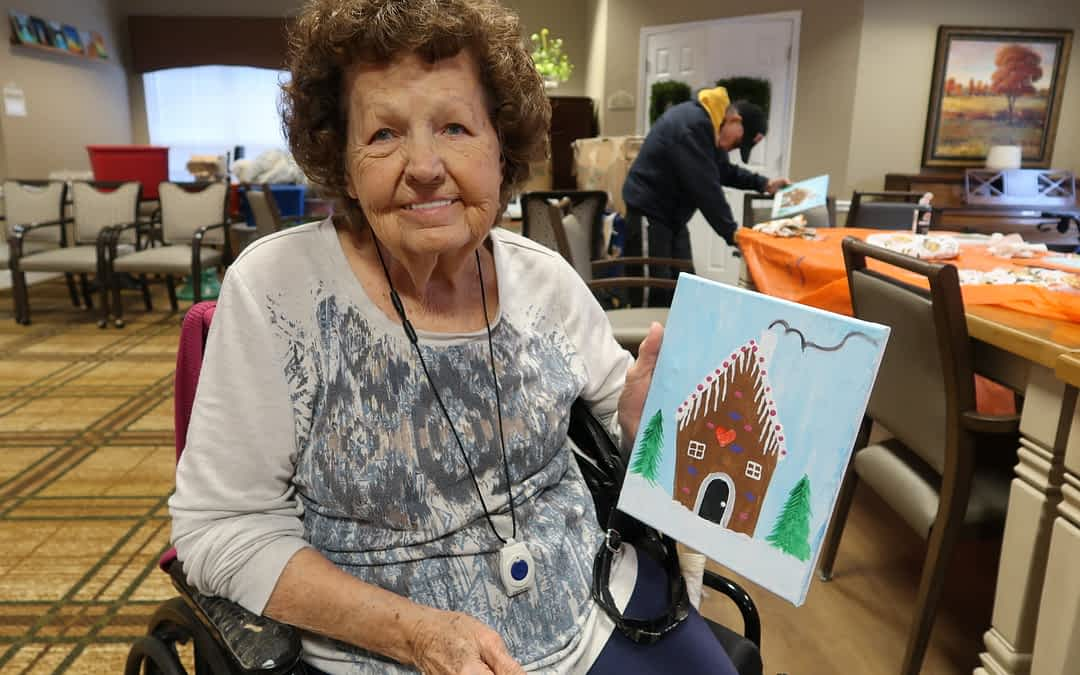 Weekly Painting Class Provides Morning Pointe Residents with Unique Souvenirs