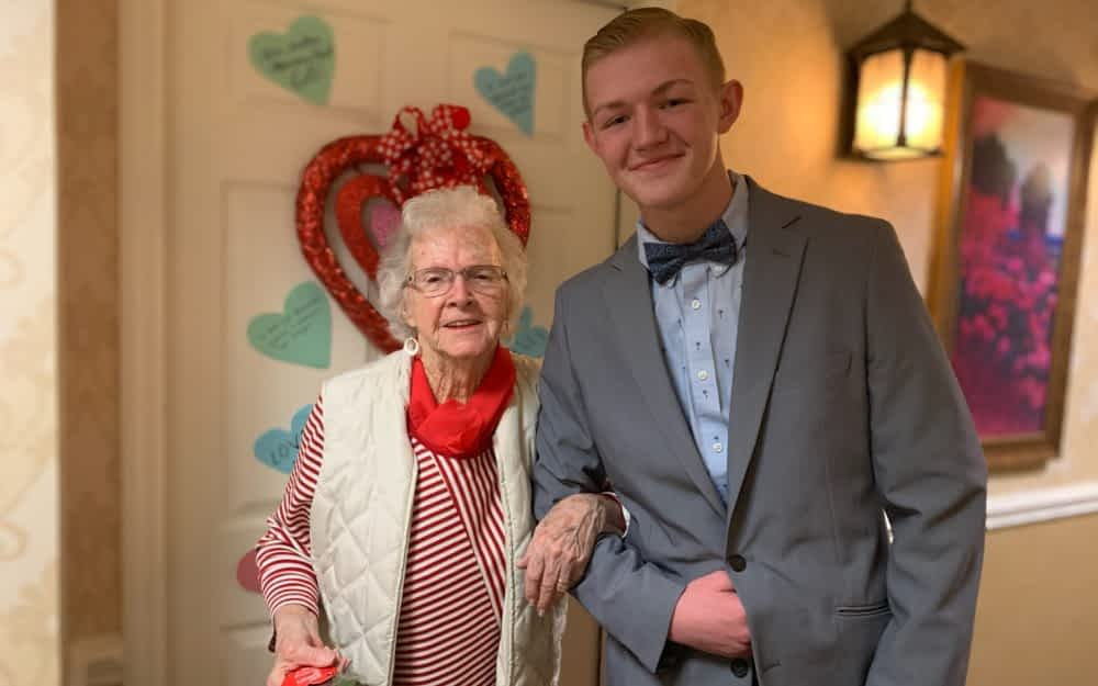 Loudon County Student Athletes Escort Morning Pointe Residents to Sweetheart Dinner