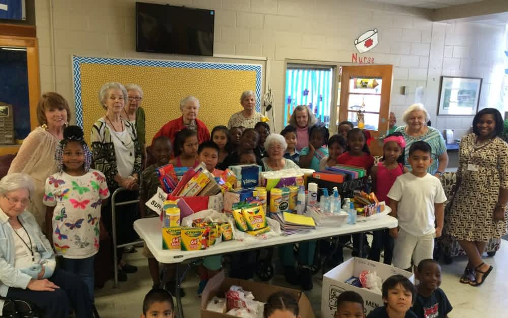 Residents at Morning Pointe of Tuscaloosa delivered 400 school supply items to second grade students at Matthews Elementary School.