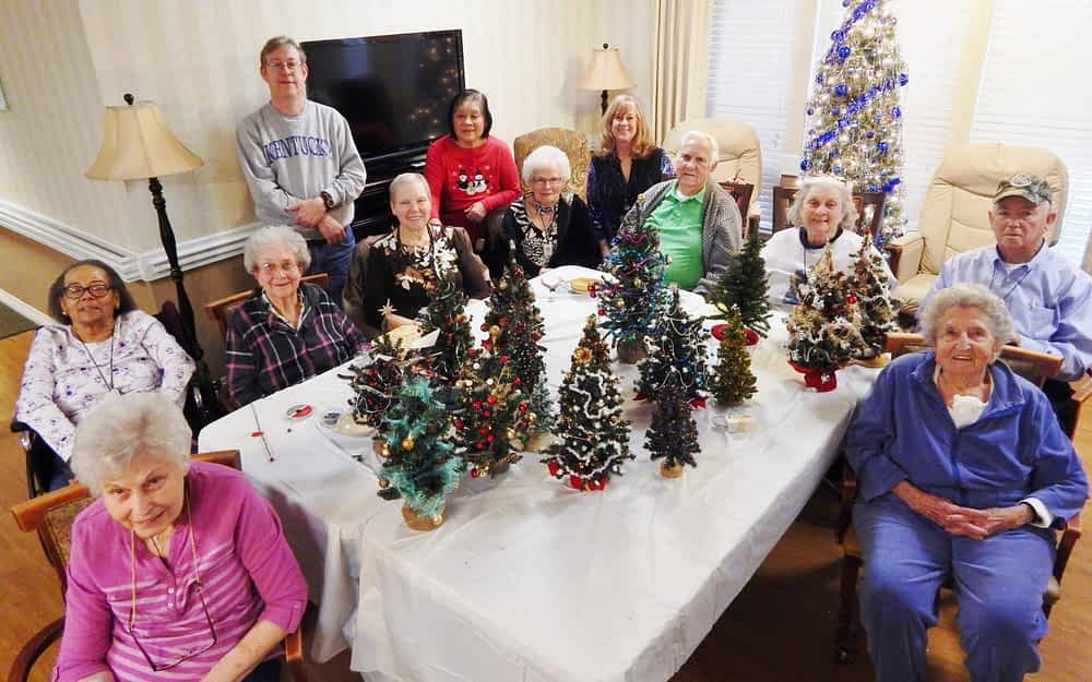 Morning Pointe, Lexington Artist Decorate Mini Christmas Trees