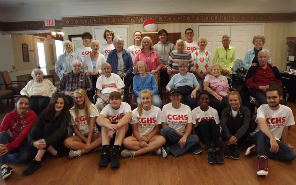 """Center Grove HS Students Bring """"Day of Caring"""" to Morning Pointe Residents"""