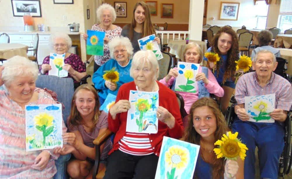 Morning Pointe Seniors, Students Celebrate Sunflower Season in Color