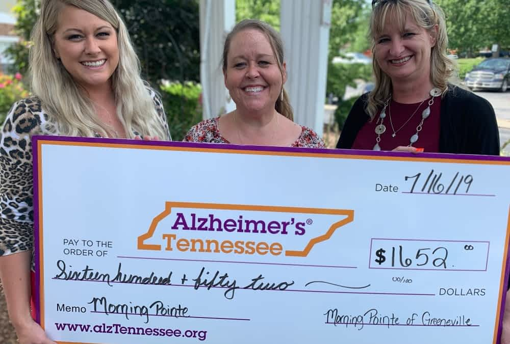 Morning Pointe Donates Thousands to Alzheimer's Tennessee