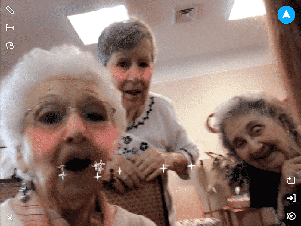 Arlene Kemph, Rebecca McNeese and Margaret Prince, Morning Pointe of Columbia residents, played with Snapchat.