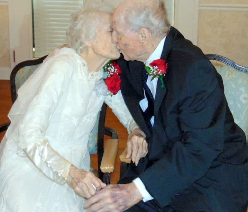 The Lantern at Collegedale residents Jeanice and Herman Griffin, married on June 6, 1938, celebrated 78 years together. On their anniversary, Jeanice wore the very wedding gown she wore while walking down the aisle. The dress was made by her mother.