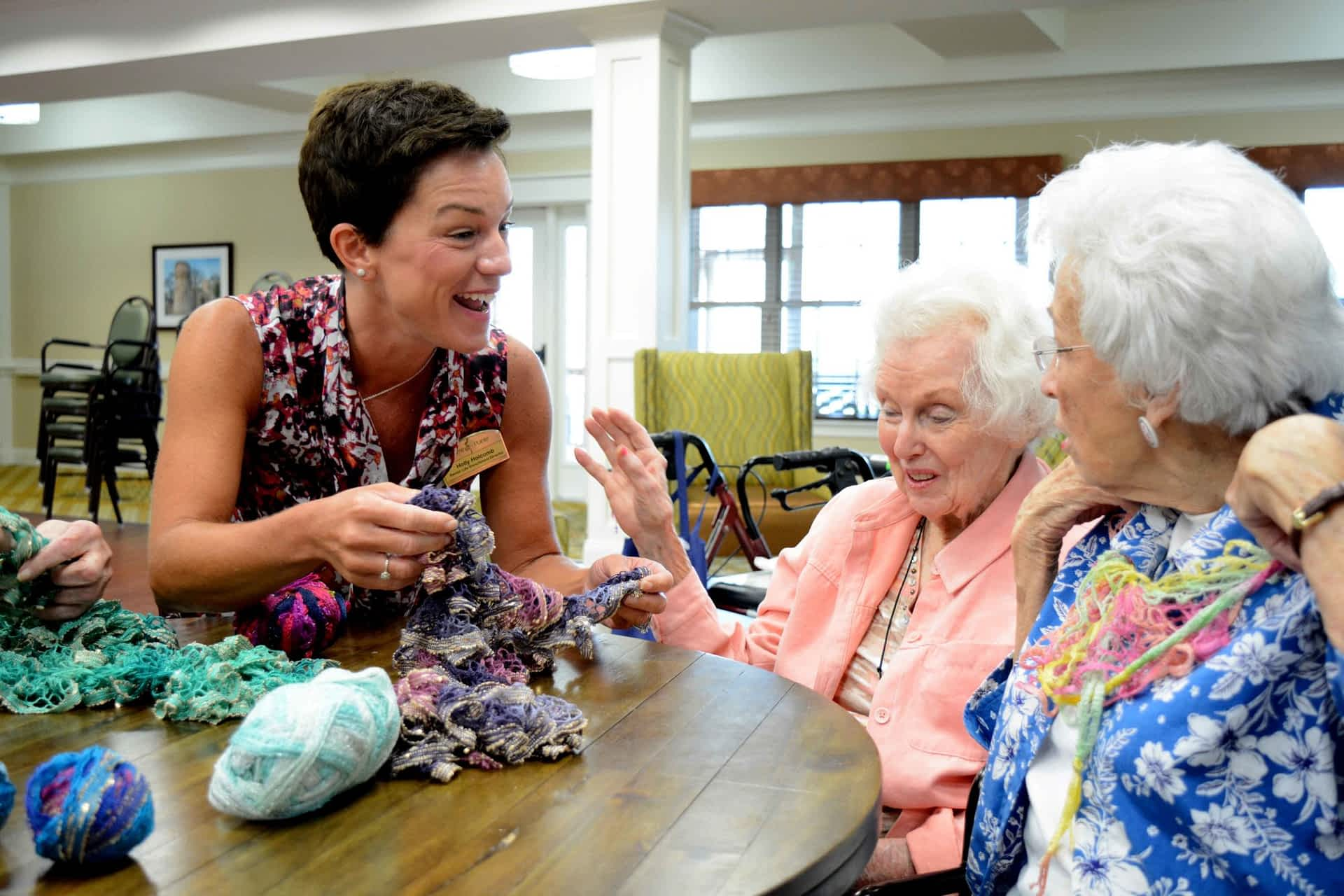 LED at Morning Pointe engaging with resident