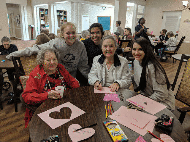 Morning Pointe, Church Group Create Caring Valentine's Crafts