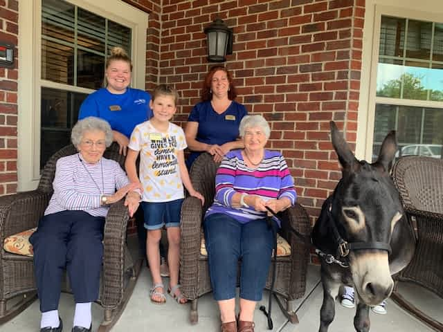 Morning Pointe Residents Meet Miniature Donkey, Courtesy of Adonai Farm