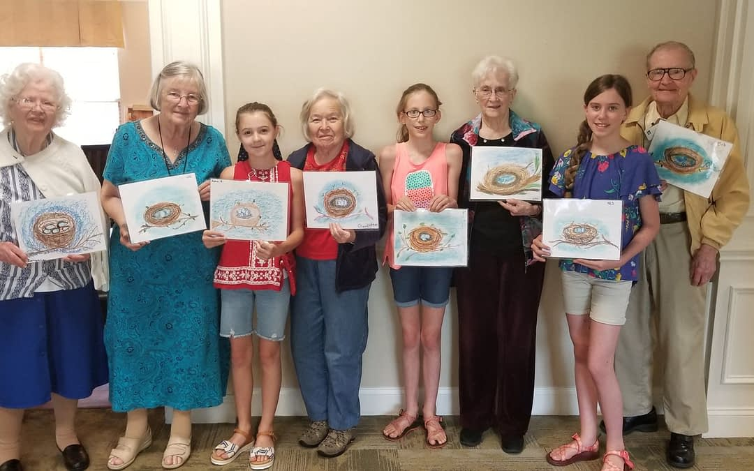 Homeschool Students Share Love of Art with Morning Pointe Residents