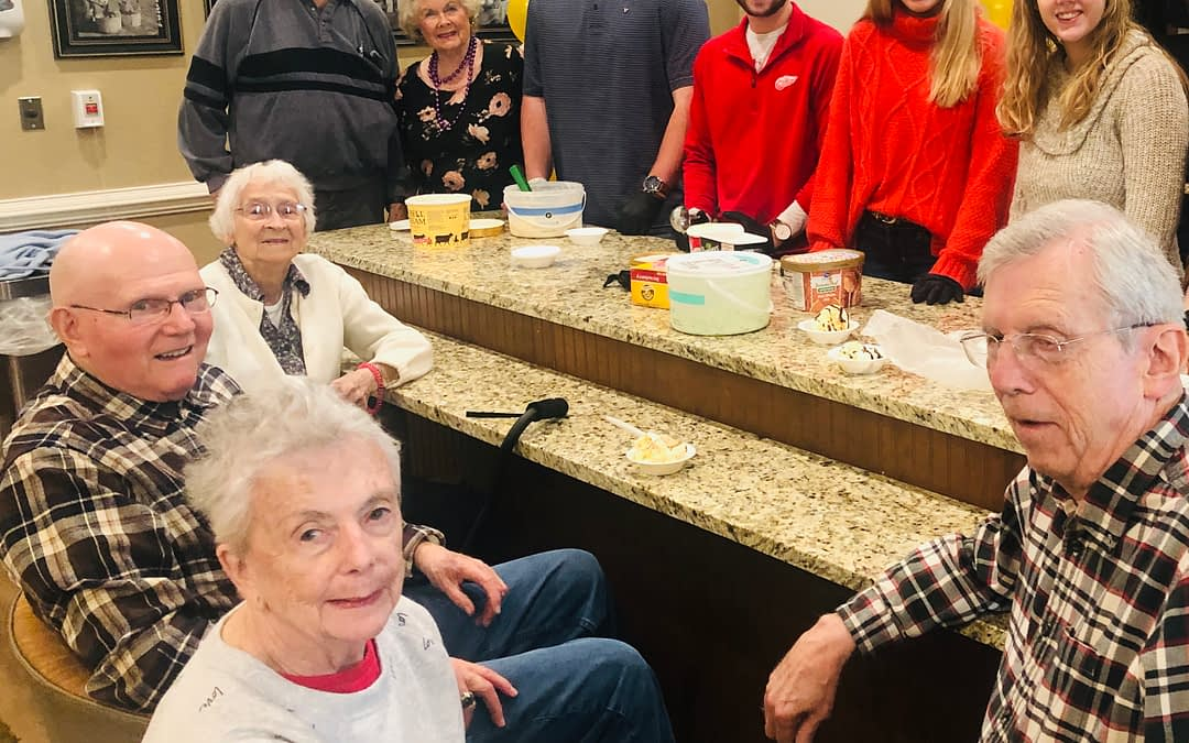 UT Students Give Ice Cream Social for Morning Pointe Residents