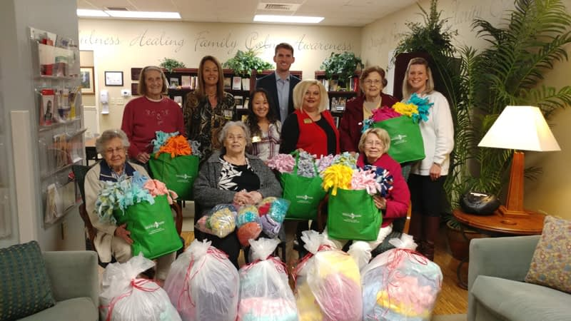 """Morning Pointe Donates Handmade Blankets and Caps to MaryEllen Locher's """"Hats from the Heart"""""""