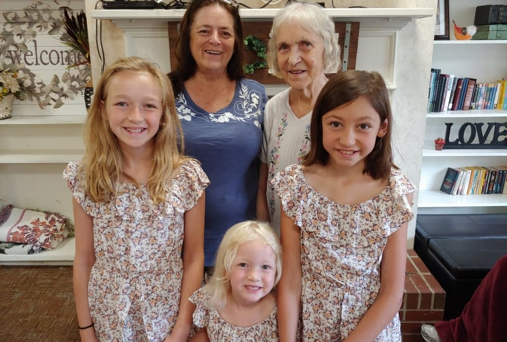 Young Trio Performs for Great-Grandmother, Morning Pointe Residents