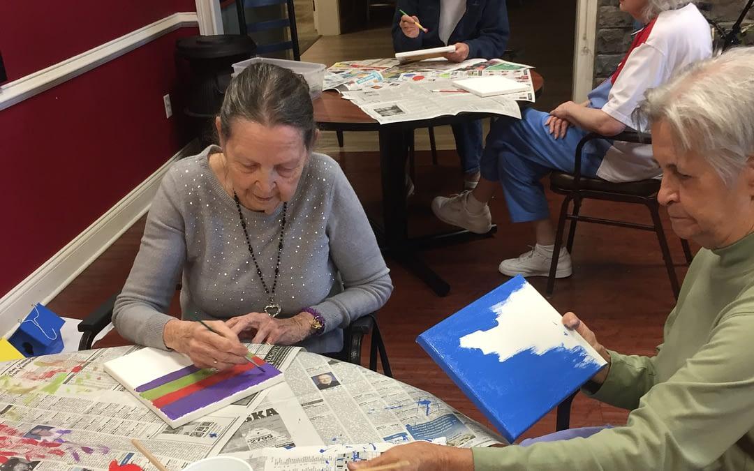 Morning Pointe Seniors Build Birdhouses