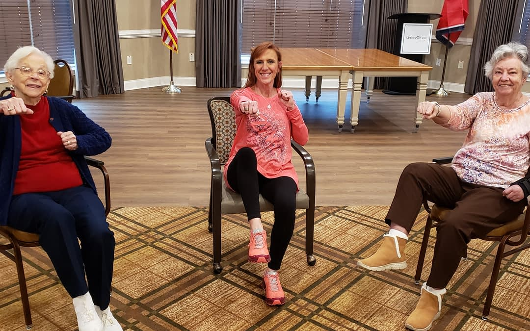 Local Exercise Instructor Leads Chair Zumba Class at Morning Pointe