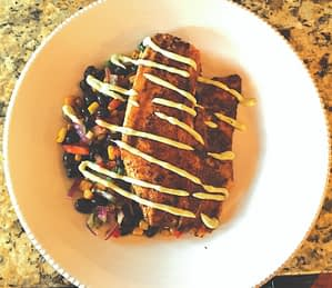 Zuelly's dish featured boneless, blackened tilapia with roasted corn and a black bean salad, all drizzled with a creamy avocado aioli in a RSBT-free, low-fat Greek yogurt base. Colorful ingredients and fresh flavors, such as cilantro and lime, were carefully plated to accentuate the fish entree.