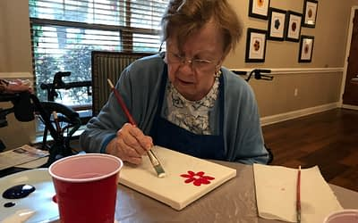Morning Pointe Partners with Unique Techniques Painting Parties for Art Therapy Class