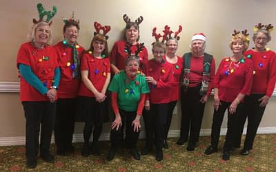 The Roby Line Dancers Rock around the Christmas Tree at Morning Pointe